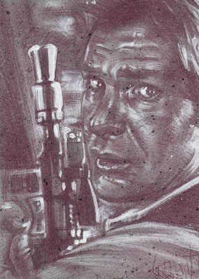 Han Solo (Pencil study) ACEO Sketch Card by Jeff Lafferty