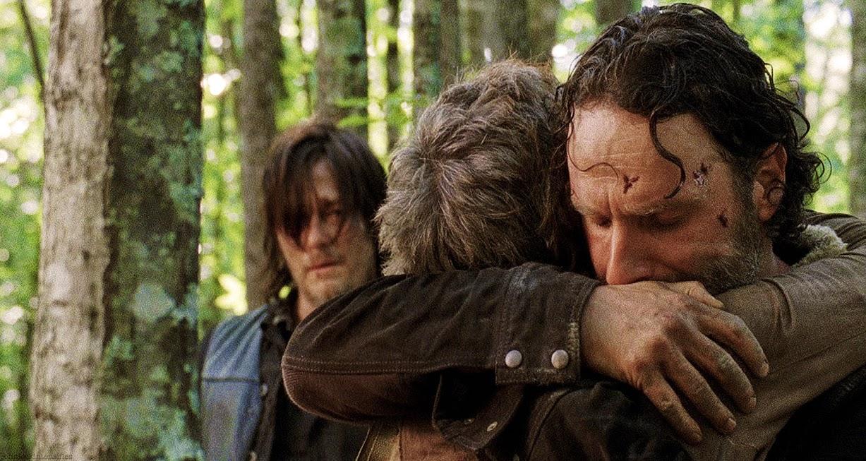 Carol Daryl y Rick en el primer capítulo de la quinta temporada de The Walking Dead, de AMC