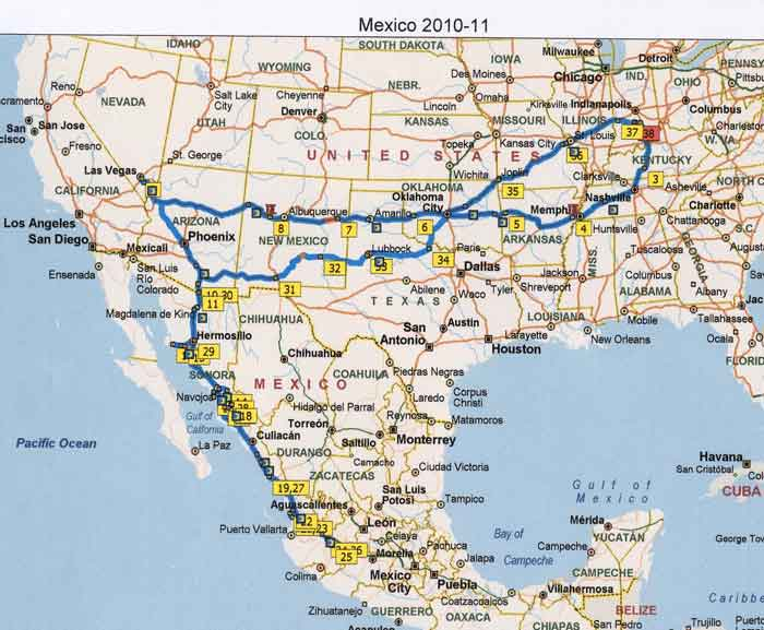 we were on the road 149 days as you can see from the map most of the driving was in the us coming and going