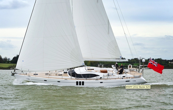 The Oyster 625 has just been voted 'luxury yacht of the year 2012', .