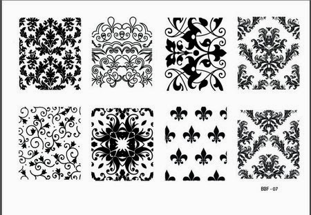 Lacquer Lockdown - stamping, nail art, easy nail art ideas, easy nail art, cute nail art, diy nails, diy nail art, indie plate maker, new stamping plates 2014, new nail art plates 2014, new nail art image plates 2014, new stamping plates, LojaBBF, Loja BBF, full nail images, floral, leaves, wall paper patterns, fleur de lis, abstract, stencil patterns, LojaBBF 07, BBF 07