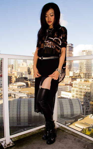 Margiela for HM leather jacket and watch belt, blaque lable skirt, evil twin high lo top, suspender leggings