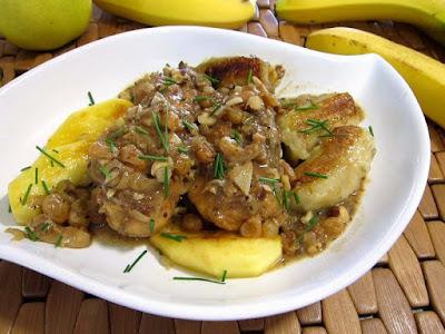 طريقة عمل طاجين الدجاج بالموز, طاجين الدجاج بالموز, طاجين الدجاج بالتفاح, تفاح, دجاج