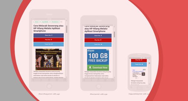 Tampilan iklan adsense untuk handphone