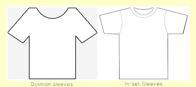 t-shirt with dolman sleeves or in-set sleeves