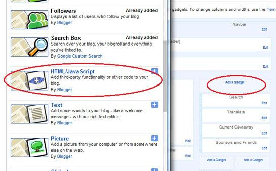 Add a html gadget on blogger