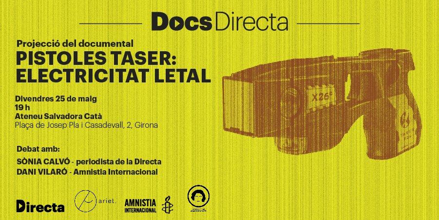 """Passi del documental """"Pistoles Taser: electricitat letal"""" a l'Ateneu Popular Salvadora Catà"""