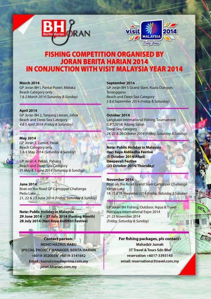 Jadual Pertandingan Pancing Berita Harian 2014