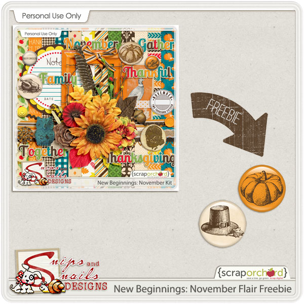 New Beginnings: November Flair Freebie by Snips and Snails Designs