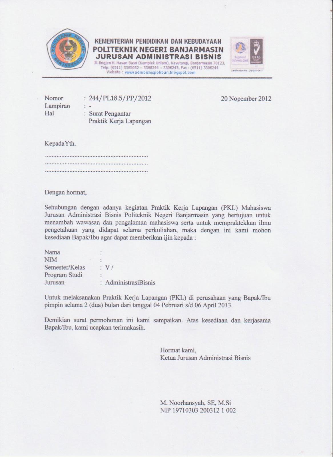 Download Surat Pengantar PKL Klik disini