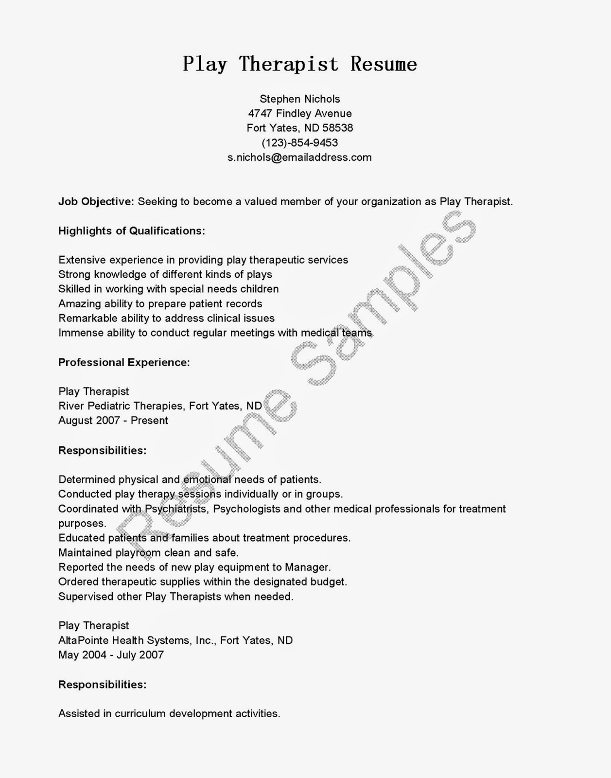 Resume Samples Play Therapist Resume