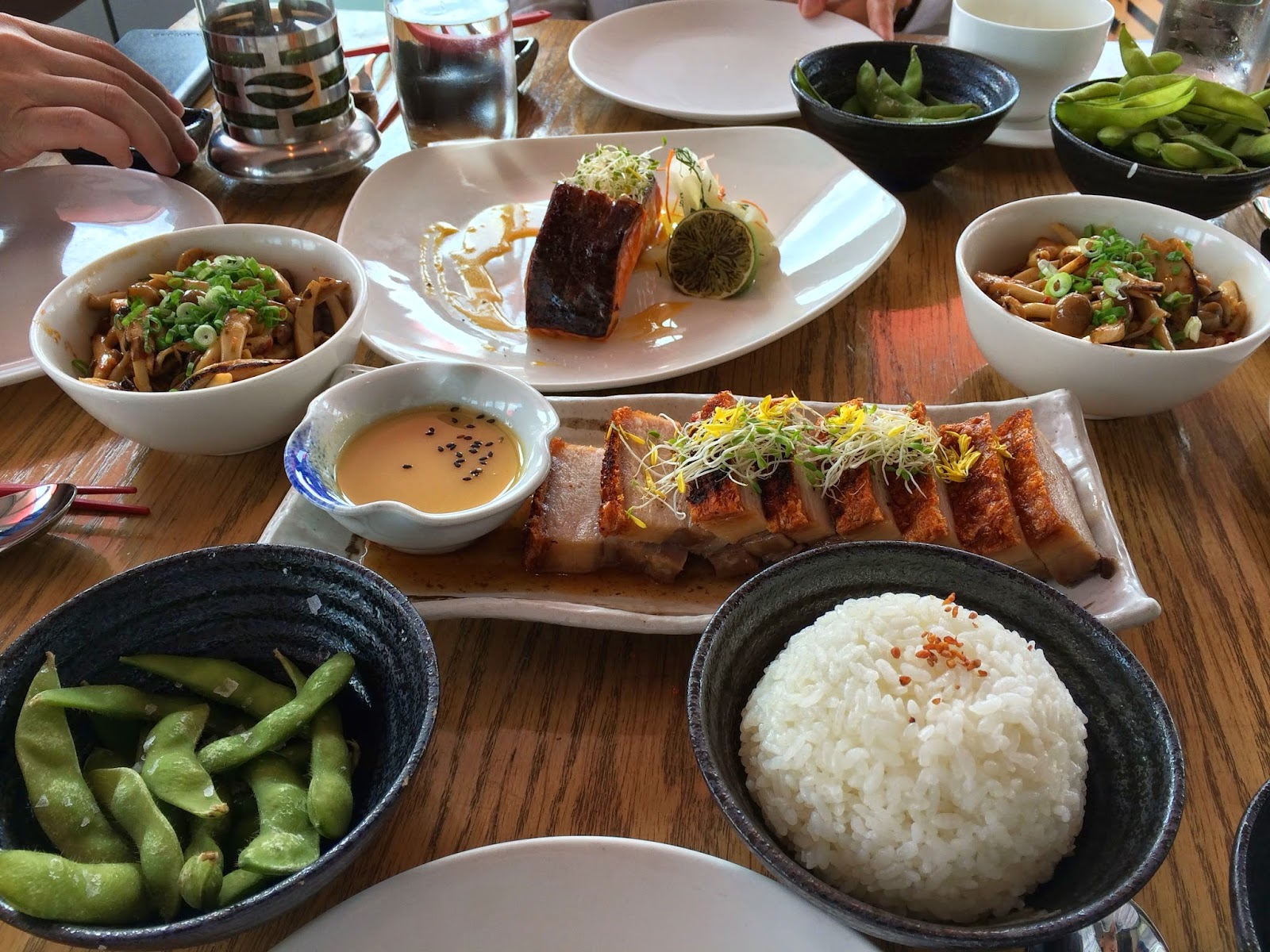 Pork Belly, Salmon and Edamame at Ku De Ta in Marina Bay Sands Singapore