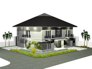 3D home plan design ideas modern house picture desain rumah