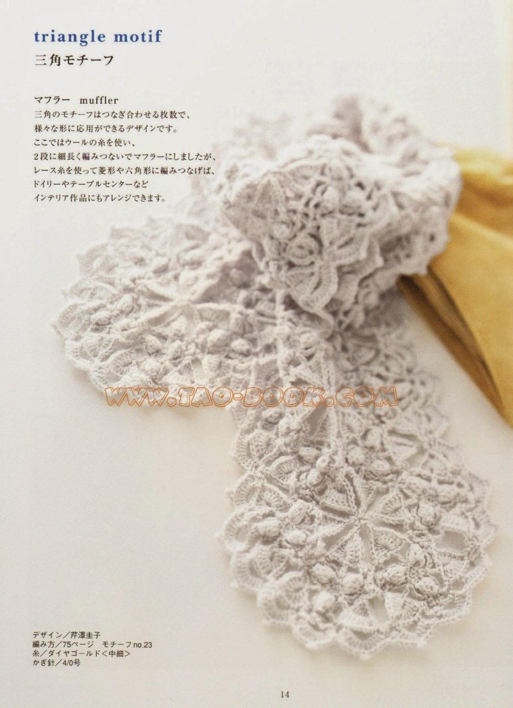 szydelkowy szalik kwiatowy
