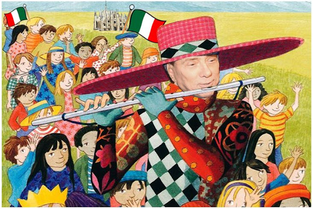 Silvio Berlusconi as the Pied Piper of Hameiln