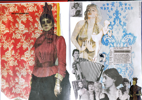 aliciasivert alicia sivertsson collage sköna hem drömhem och trädgård dn dagens nyheter scrapbook scrap book Peredvizjniki kvinnor kvinna woman women kontaktannons accordion dragspel marilyn monroe virginia woolf queen elisabeth drottning