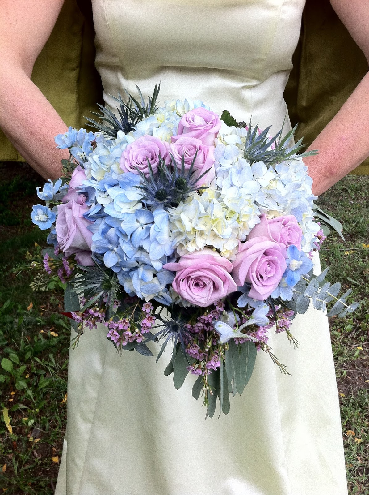 The enchanted petal flowers blue and lavender rose and hydrangea wedding bridal bouquet by stein your florist co izmirmasajfo Gallery