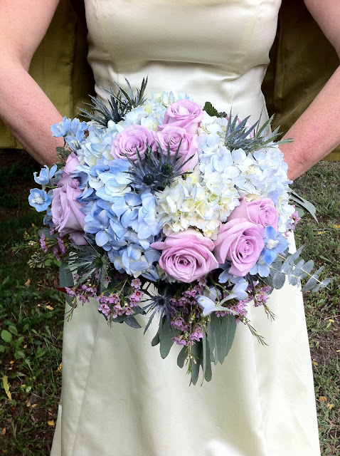 Blue and Lavender Rose and Hydrangea Wedding Bridal Bouquet by Stein Your Florist Co.