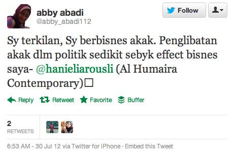 Kontrak Abby Abadi Duta Tudung Dibatalkan