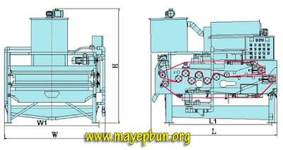 Sơ đồ cấu tạo máy ép bùn băng tải Yuanchang - Taiwan