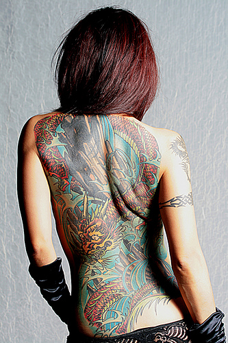 Girl Tattoo With Dragon Tattoos Designs