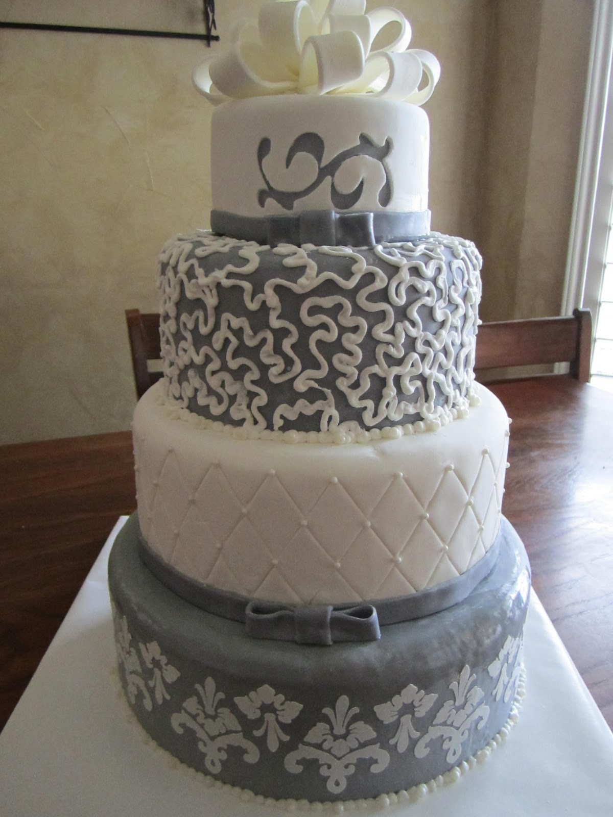 Frosted Insanity Grey Wedding Cake