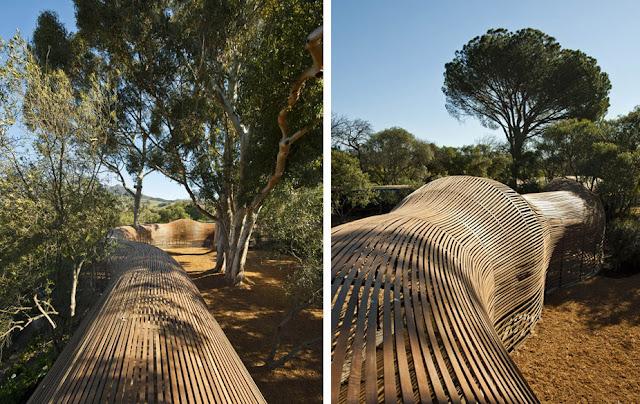 Serpiente de madera patrice taravella y terry de waal for Pabellones arquitectura efimera