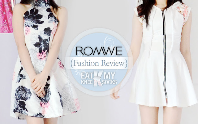 The Eat My Knee Socks/Mimchikimchi clothing and fashion review of the halterneck flared floral skater dress and zip-up hoodie sweatshirt ulzzang dress from Romwe, two fun floral styles for the summer.