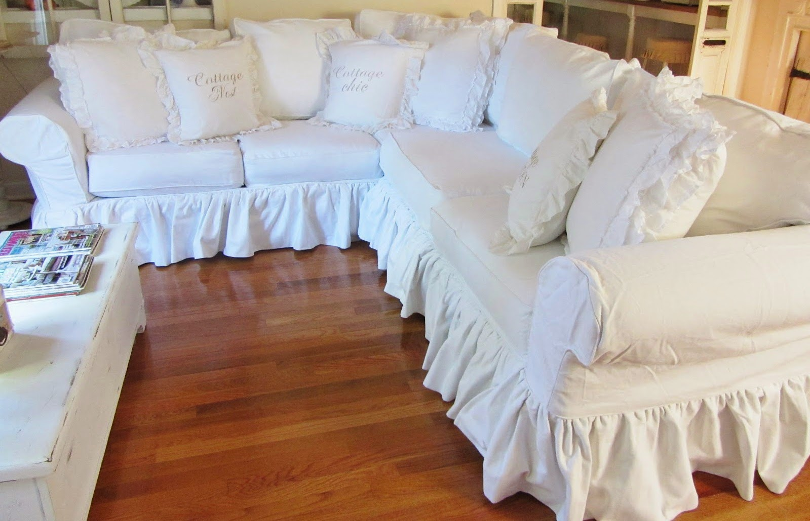 Junk chic cottage white sectional sofa for sale for Sectional slipcovers for sale