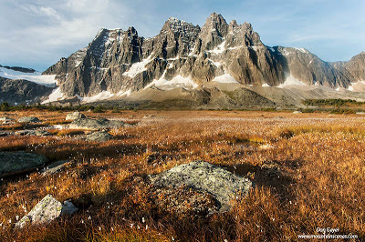 The Ramparts tower above Tonquin Valley in Jasper National Park, Alberta, Canada.