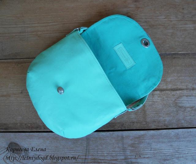 маленькая сумочка из натуральной итальянской кожи мятного цвета