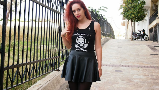 Redhead,outfit,rock,skirt,leather,leather skirt,persunmall,zara,pirate,pirate bar,hydra,ringsandtings, Rings and Tings,accessories ,winter, 2013, 2014,spotlights on the redhead,pretty little psycho