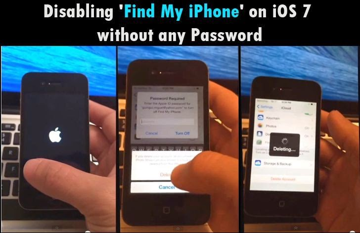 Disabling 'Find My iPhone' on iOS 7  without any Password