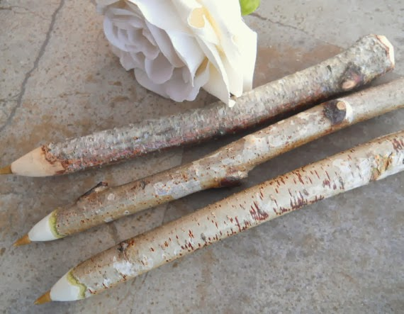 3 Rustic White Birch Wood Tree Branch Pens - For Woodland Weddings, Wedding Guestbooks, Outdoor Weddings, Bridal and Baby Showers