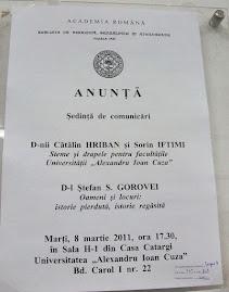 Anunţul oficial al şedinţei CHGS, 8.III.2011....