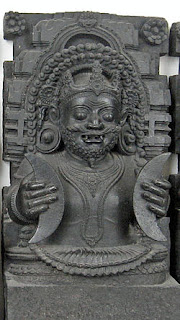 Shukra, the preceptor of the demon, devotee of Shiva; Central Indian stone carving.
