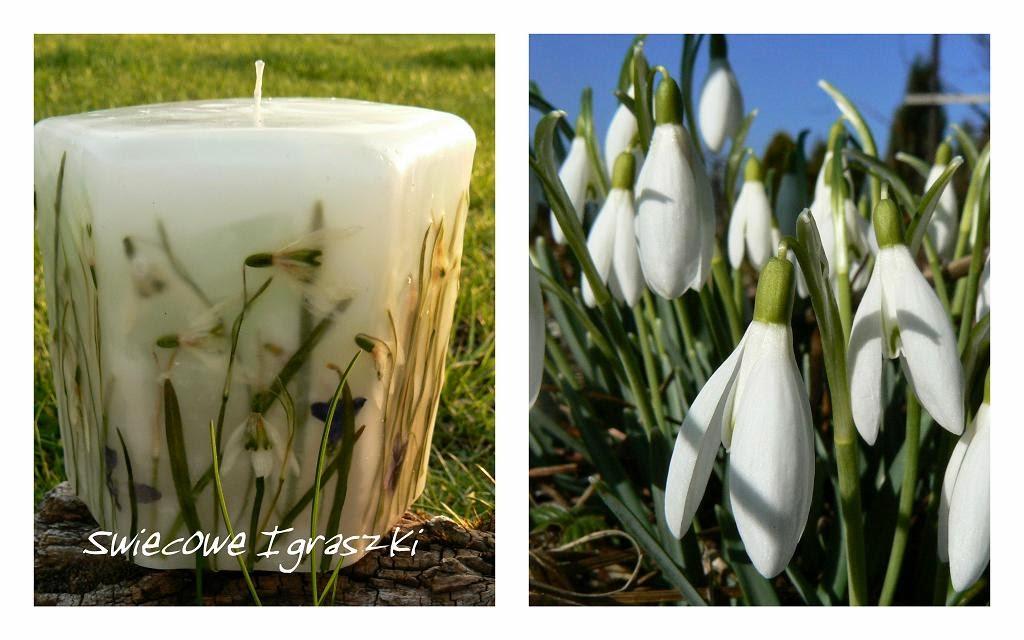 Świeca z kwiatami ręcznie robiona