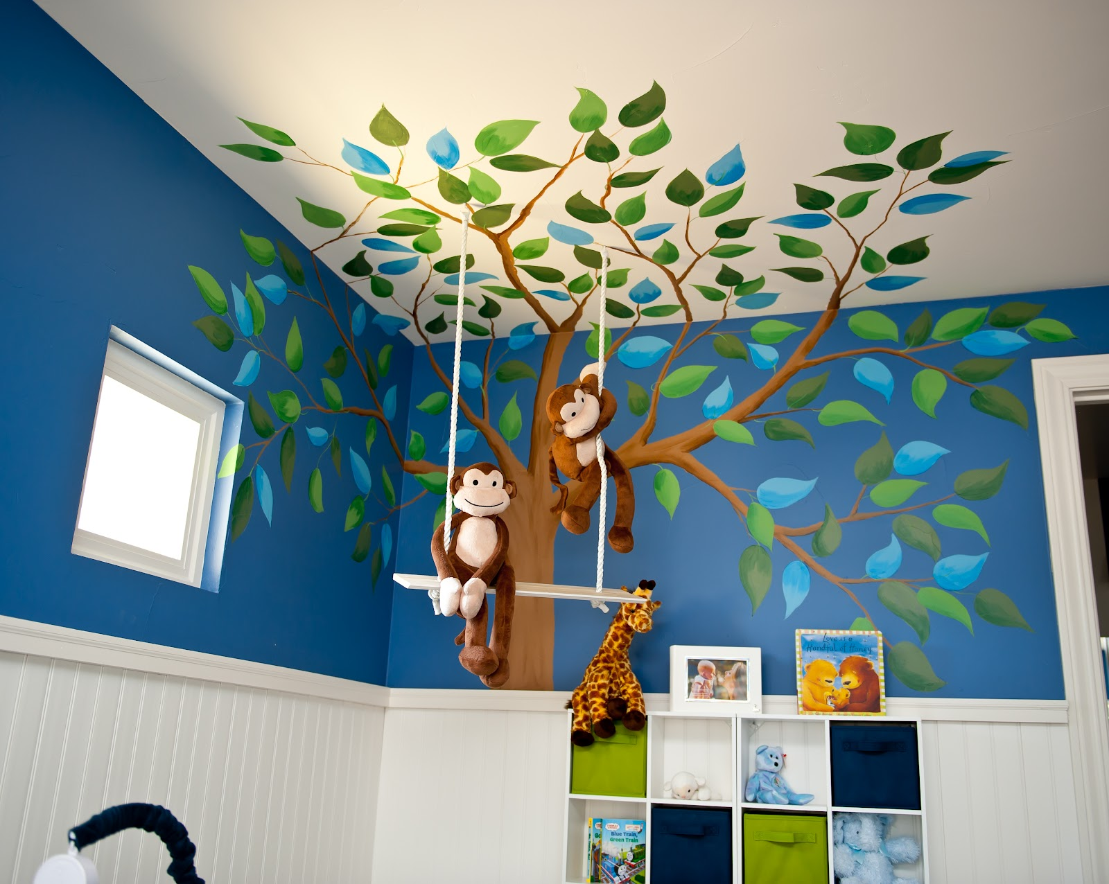 Monkey business nursery design dazzle for Baby boy mural ideas