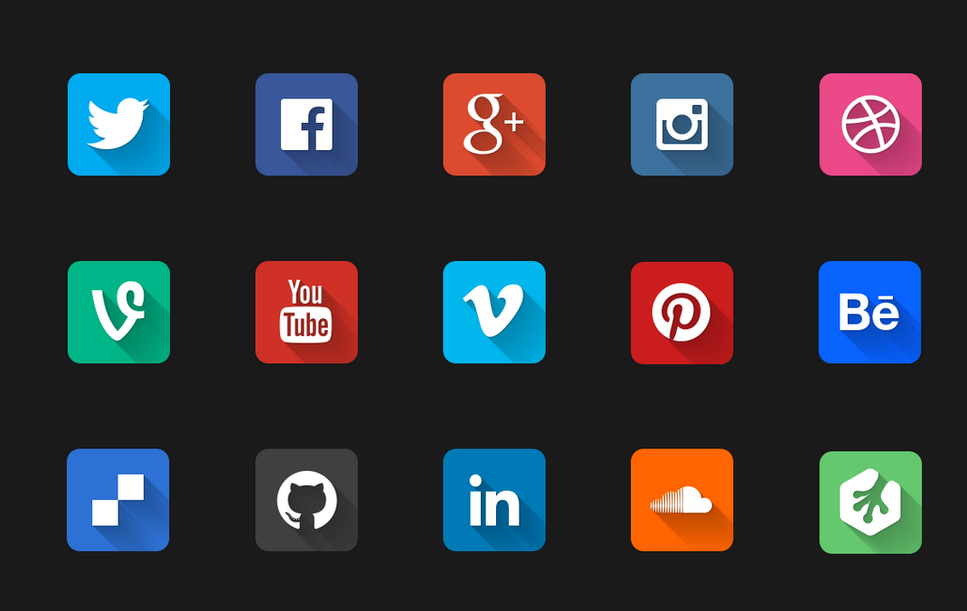 Top Social Media Icons Long Shadow Social Media Icons