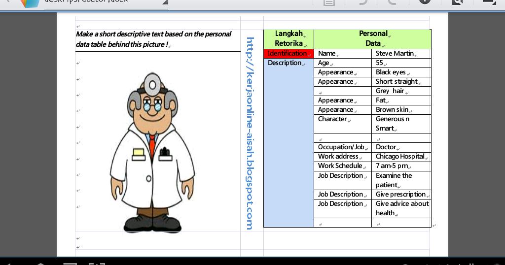 Download Alat Peraga Menulis Teks Deskripsi Tema Profesi Kerja Online Aisah