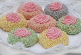 My Recipe for Pretty Pastel Thumbprint Cookies was mentioned on Shari's Berries Blog