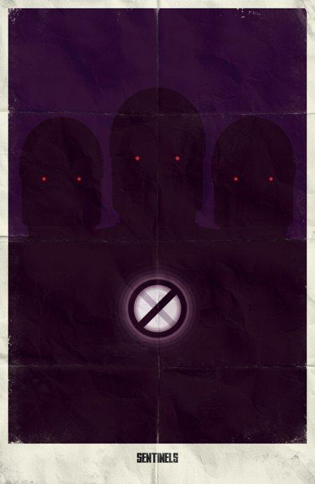 marko manev ilustração poster minimalista super heróis marvel Sentinelas