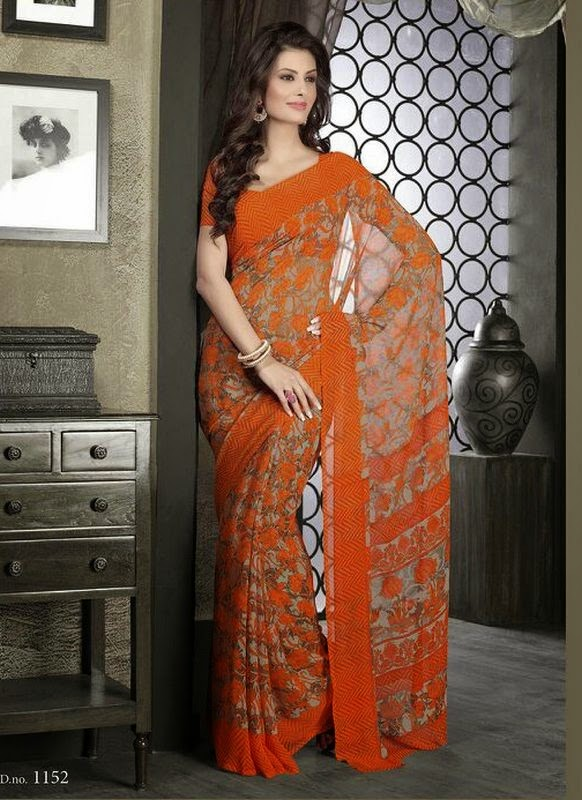 Casual And Simple Orange Georgette Saree