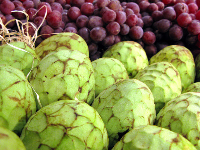 Cherimoya fruit on sale in a Gran Canaria market