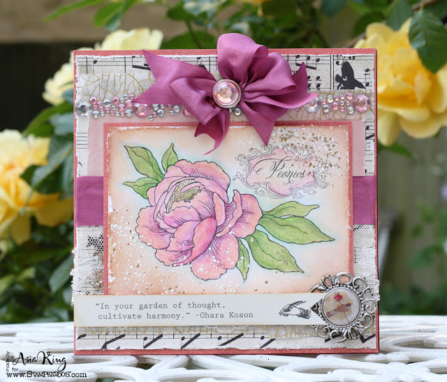 Stampendous Peony Spray and Frantage