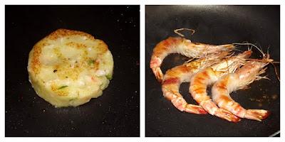 Gamberoni  mantellati  di lardo su tortino di patate e velluto di ceci