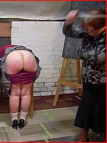 Caning a fat schoolgirl bum