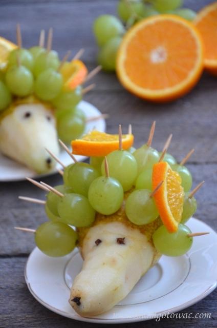 Jeżyk z gruszki i winogron