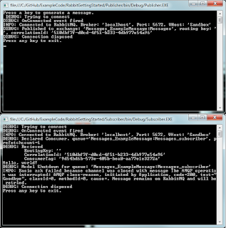 Showing the sample output from two console apps; one publisher and one subscriber.