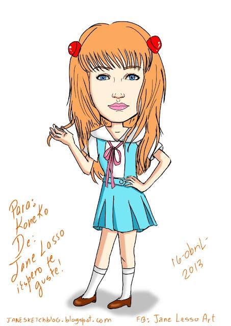 Caricatura para Koneko-tan cosplayer Panamá